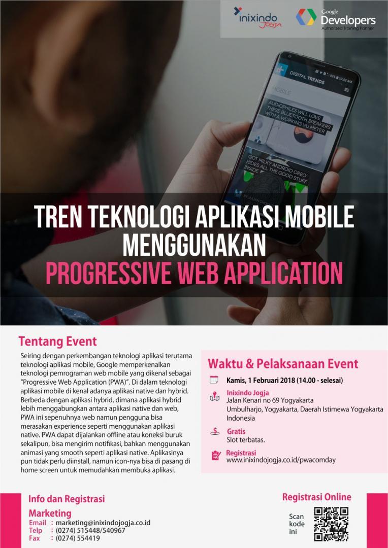 Tren Teknologi Aplikasi Mobile menggunakan Progressive Web Application Poster